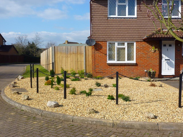 36 Inch Black UPVC Fence Post And Chain After