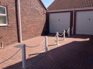 White Post and Chain Fencing on Driveway