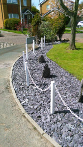 White Posts with White Chains for Gardens