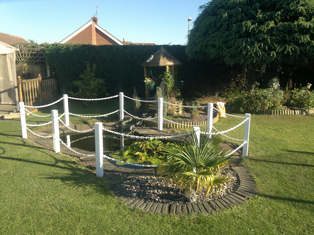 Pond Safety Fencing Bespoke Posts and Chains