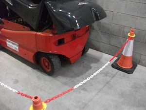 Traffic Cones And Plastic Chain Fencing